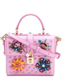 Cartable en cuir orné rose Dolce & Gabbana