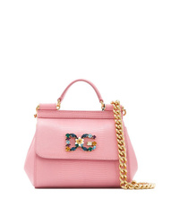 Cartable en cuir rose Dolce & Gabbana