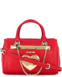 Cartable en cuir rouge Love Moschino