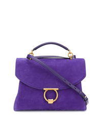 Cartable en daim violet Salvatore Ferragamo