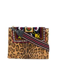 Cartable imprimé léopard marron clair Etro
