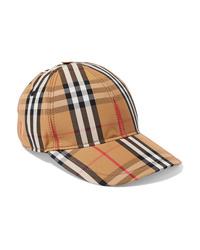Casquette à carreaux marron clair Burberry