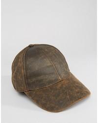 Casquette de base-ball en cuir brun Asos