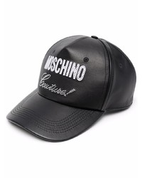 Casquette de base-ball en cuir imprimée noire Moschino