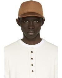 Casquette de base-ball en cuir marron Balmain