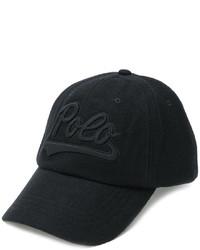 Casquette de base-ball en cuir noir Polo Ralph Lauren