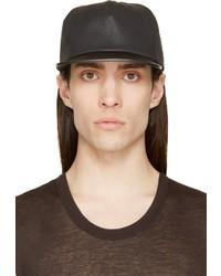 Casquette de base-ball en cuir noire Rick Owens