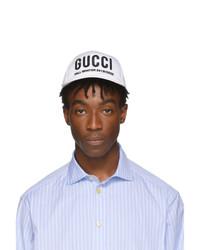 Casquette de base-ball imprimée blanche Gucci