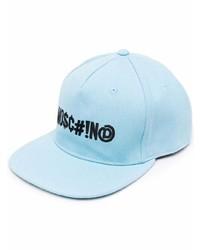 Casquette de base-ball imprimée bleu clair Moschino