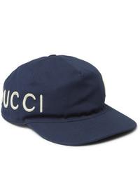 Casquette de base-ball imprimée bleu marine et blanc Gucci