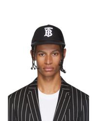 Casquette de base-ball imprimée noire et blanche Burberry