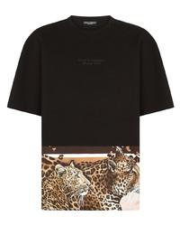 Casquette de base-ball imprimée noire et blanche Dolce & Gabbana
