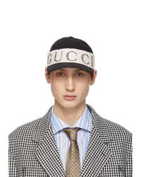 Casquette de base-ball imprimée noire et blanche Gucci