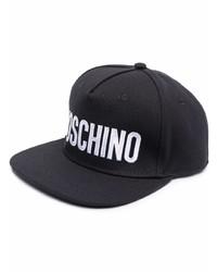 Casquette de base-ball imprimée noire et blanche Moschino