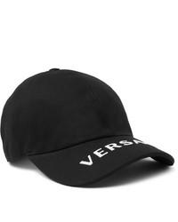 Casquette de base-ball imprimée noire et blanche Versace