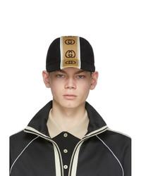 Casquette de base-ball imprimée noire Gucci