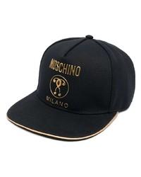 Casquette de base-ball imprimée noire Moschino