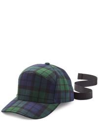 Casquette écossaise bleu marine et vert