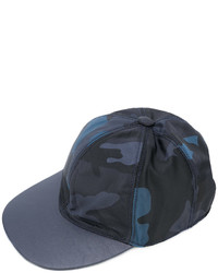 Casquette en cuir camouflage bleu marine Valentino Garavani