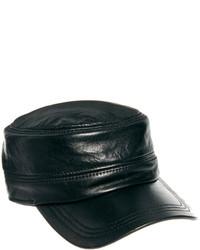 Casquette en cuir noire Asos
