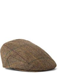 Casquette plate écossaise marron