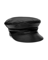 Casquette plate en cuir noire Lack of Color