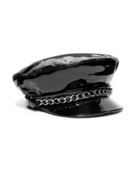Casquette plate en cuir ornée noire Eugenia Kim