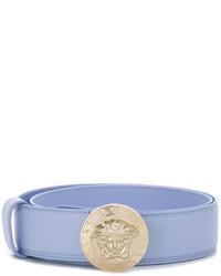 Ceinture en cuir bleu clair Versace