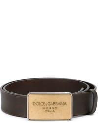 Ceinture en cuir brun foncé Dolce & Gabbana