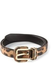 Ceinture en cuir imprimée léopard brune Dolce & Gabbana