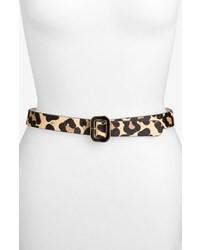 Ceinture en cuir imprimée léopard marron clair