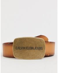 Ceinture en cuir marron clair Calvin Klein Jeans