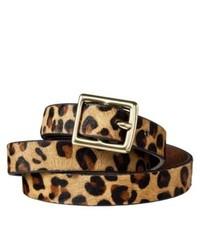 Ceinture en daim imprimée léopard marron clair