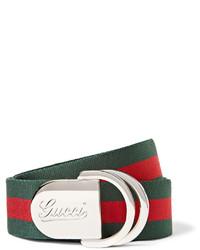 Ceinture en toile à rayures horizontales verte Gucci