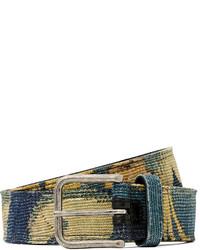 Ceinture en toile imprimée bleue Dries Van Noten