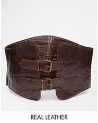 Ceinture serre-taille en cuir marron foncé Black & Brown