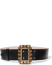 Ceinture serre-taille en cuir ornée noire Alexander McQueen