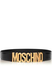 Ceinture serre-taille en cuir ornée noire Moschino