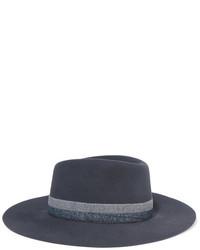 Chapeau à rayures horizontales gris foncé Maison Michel