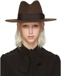 Chapeau brun foncé Saint Laurent