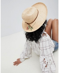 Chapeau de paille à fleurs marron clair Brixton