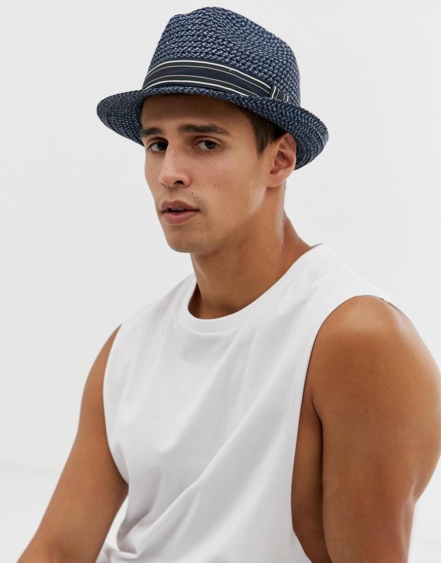 Chapeau de paille à rayures horizontales bleu marine Ted Baker