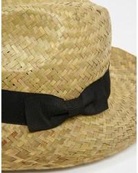 Chapeau de paille beige Reclaimed Vintage