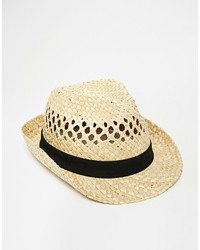 Chapeau de paille beige Selected