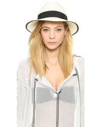 Chapeau de paille blanc et noir