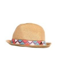Chapeau de paille imprimé brun clair Roxy