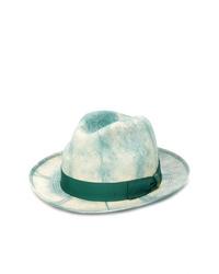 Chapeau de paille imprimé tie-dye vert menthe Borsalino