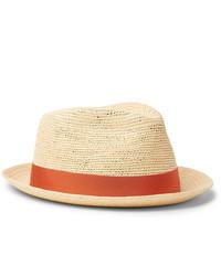 Chapeau de paille marron clair Borsalino