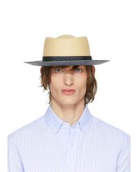 Chapeau de paille marron clair Giorgio Armani