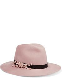 Chapeau en laine à fleurs rose Eugenia Kim